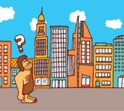 Caveman lost in the city. Cartoon illustration of caveman feeling lost in the city Stock Photos