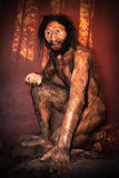 Caveman Model. This is a model of the face of a caveman reconstructed by American scientists and in exhibition at the New York Natural History Museum in New York royalty free stock photo