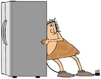 Caveman moving a refrigerator Royalty Free Stock Photos