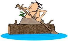 Caveman paddling a log canoe Stock Image