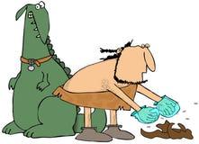 Caveman picking up pet poo Stock Image