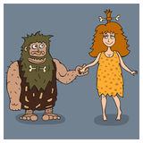 02caveman. Prehistoric man and woman holding hands.Vector illustration Royalty Free Stock Images