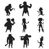 Caveman primitive stone age black silhouette people character evolution vector illustration. Caveman primitive stone age cartoon black silhouette neanderthal Royalty Free Stock Photo