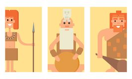Caveman primitive stone age cards cartoon neanderthal people character evolution vector illustration. Stock Images