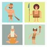 Caveman primitive stone age cards cartoon neanderthal people character evolution vector illustration. Royalty Free Stock Images