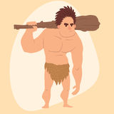 Caveman primitive stone age cartoon man neanderthal human character evolution vector illustration. Caveman primitive stone age cartoon man neanderthal human Royalty Free Stock Photography