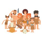 Caveman primitive stone age cartoon neanderthal people. Caveman primitive stone age cartoon neanderthal people action character evolution vector illustration Royalty Free Stock Image