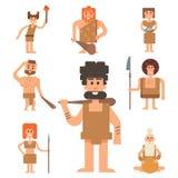 Caveman primitive stone age cartoon neanderthal people character. Caveman primitive stone age cartoon neanderthal people action character evolution vector Royalty Free Stock Images