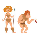 Caveman primitive stone age cartoon neanderthal people character evolution vector illustration. Caveman primitive stone age cartoon neanderthal people action Royalty Free Stock Images