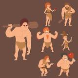 Caveman primitive stone age cartoon neanderthal people character evolution vector illustration. Stock Photo