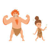 Caveman primitive stone age cartoon neanderthal people character evolution vector illustration. Caveman primitive stone age cartoon neanderthal people action Royalty Free Stock Photos