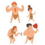 Caveman primitive stone age cartoon neanderthal people character evolution vector illustration. Caveman primitive stone age cartoon neanderthal people action Royalty Free Stock Photography