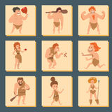 Caveman primitive stone age cartoon neanderthal people character evolution vector illustration. Caveman primitive stone age cartoon neanderthal people action Stock Images