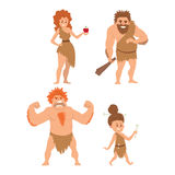 Caveman primitive stone age cartoon neanderthal people character evolution vector illustration. Caveman primitive stone age cartoon neanderthal people action Stock Photo