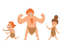 Caveman primitive stone age cartoon neanderthal people character evolution vector illustration. Caveman primitive stone age cartoon neanderthal people action Stock Image