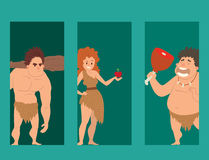 Caveman primitive stone age cartoon neanderthal people character evolution vector illustration. Caveman primitive stone age cartoon neanderthal people action Stock Photography