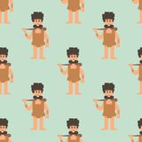 Caveman primitive stone age cartoon neanderthal seamless. Caveman primitive stone age cartoon neanderthal people action character evolution vector illustration Royalty Free Stock Image
