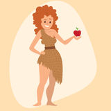 Caveman primitive stone age cartoon neanderthal woman character evolution vector illustration. Royalty Free Stock Image