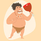 Caveman primitive stone age man cartoon neanderthal human character evolution vector illustration. Royalty Free Stock Photos