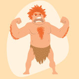 Caveman primitive stone age man cartoon neanderthal human character evolution vector illustration. Royalty Free Stock Images