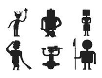 Caveman primitive stone black silhouette age cartoon neanderthal people character evolution vector illustration. Caveman primitive stone age black silhouette Royalty Free Stock Photos