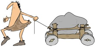 Caveman pulling a wooden cart Royalty Free Stock Image