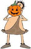 Caveman with a pumpkin head Royalty Free Stock Images