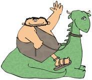 Caveman que monta um dinossauro ilustração stock