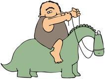 Caveman que monta um dinossauro ilustração do vetor