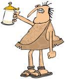Caveman raising a beer stein. This illustration depicts a caveman raising a stein of beer Royalty Free Stock Photo