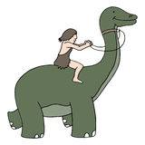 Caveman Riding Dinosaur Royalty Free Stock Images