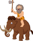 Caveman riding a mammoth. Illustration of Caveman riding a mammoth Stock Photo