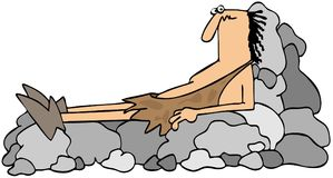 Caveman on a rock recliner. This illustration depicts a tired caveman laying on a rock recliner Stock Image