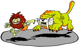 Caveman scared. A caveman being scared by a sabre tooth Stock Images