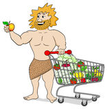 Caveman with shopping cart filled with fruit and vegetables Stock Image