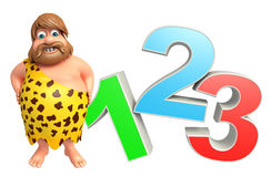 Caveman with 123 sign. 3d rendered illustration of Caveman with 123 sign Royalty Free Stock Image