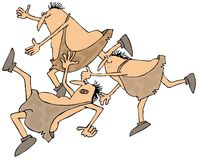 Caveman slip, trip & fall. This illustration depicts three cavemen slipping, tripping and falling Royalty Free Stock Image