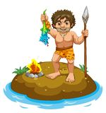 Caveman. Standing on a small island Royalty Free Stock Photos