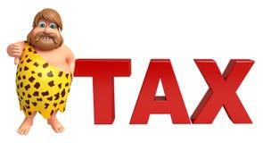 Caveman with Tax sign Royalty Free Stock Photos