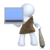 Caveman and technology Royalty Free Stock Images