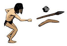 Caveman throws a weapon. A hairy caveman throws a weapon, with choice of rock, spear and boomerang. With Vector, each object on seperate layer, outline and vector illustration