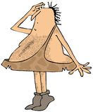 Caveman on tiptoes searching Royalty Free Stock Images