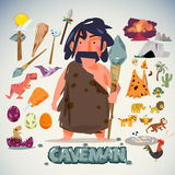 Caveman with tool, weapon and element. character design. stone a Stock Image