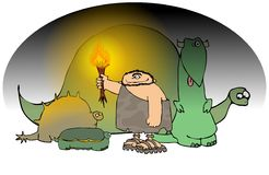 Caveman With A Torch And Dinos Stock Images