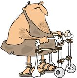 Caveman using a walker royalty free illustration