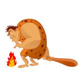 Caveman. Vector image of an cartoon caveman and the fire Stock Photo