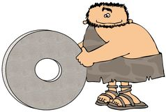 Caveman And The Wheel Royalty Free Stock Image