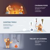 Caveman and woman in prehistoric period. Banners set with place for your text. Primitive woman and neanderthal with weapon, vector illustration Stock Photos