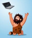Caveman worshiping a laptop Royalty Free Stock Photography