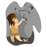 Caveman write on stone. With charcoal. Vector illustration Stock Image